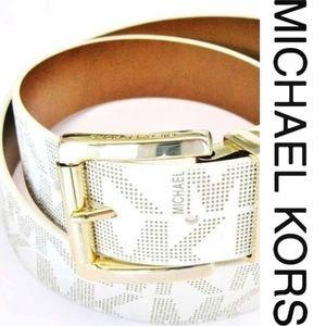 AUTHENTIC Vanilla/Luggage signature MK Belt